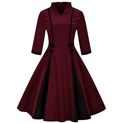 542daa2310a Ears Damen Kleiden Frauen Weihnachten Plus größe halbe hülse Vintage Feste  Bogen Retro Flare Dress Minirock
