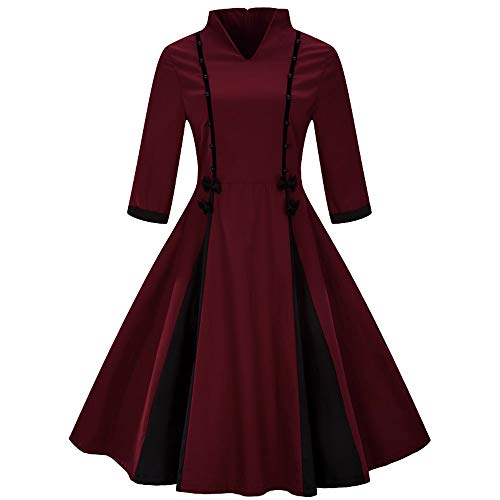 Bridal Thong Rise Bow Low (Hot Sales! NRUTUP Fashion Womens Plus Size Blouse Half Sleeve Vintage Dress Solid Bow Retro Flare Dress Tops(Wine,M))