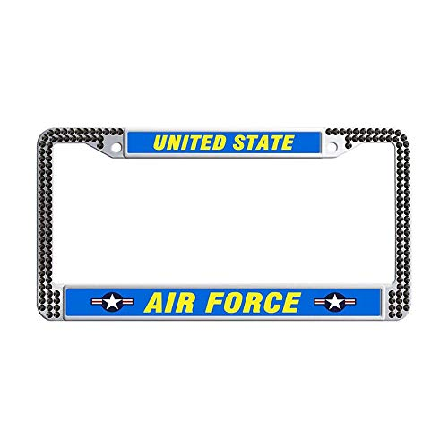 Hensonata Glitter Rhinestones United State AIR Force License Cover Holder for Car, Hippie Sparkle Bling Rhinestone Crystal Waterproof Stainless Steel Car Licence Plate ()