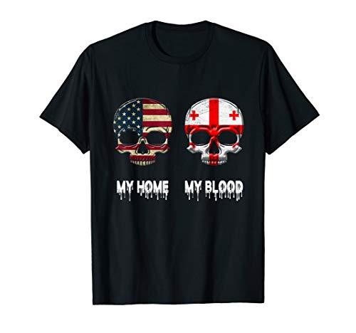 My Home my Blood Georgia Flag T-Shirt Georgian Gift Tee - Georgia Classic Shirt