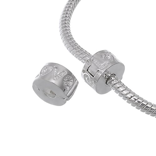 RUBYCA 20pcs White Silver Plated Clip Lock Stopper Clasp Beads fit European Charm Bracelet Model 130