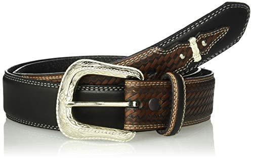 Silver Canyon Men's Leather Basket Weave Knotted Billets, Studs Black Belt, 36