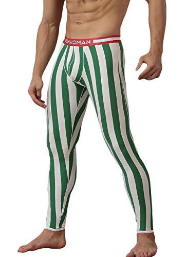 (WUAMBO Men's Soft Thermal Base Layer Stripe Long John Bottoms Green Waist 35-38