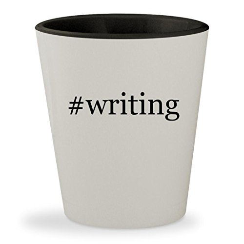 #writing - Hashtag White Outer & Black Inner Ceramic 1.5oz Shot - Blog Festival Style