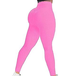 WINNOR Scrunch Butt Yoga Pants High Waisted Textured Butt Lift Leggings for Women Booty Lifting Tights Pink