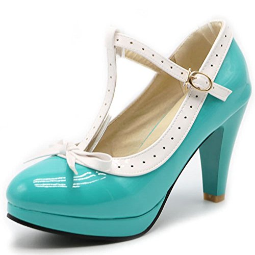T DoraTasia Cute Vintage Green Tie Bow Mary Platform Light High Dress Strap Janes Women's Shoes Pumps Heel 2 rggvwqHIn