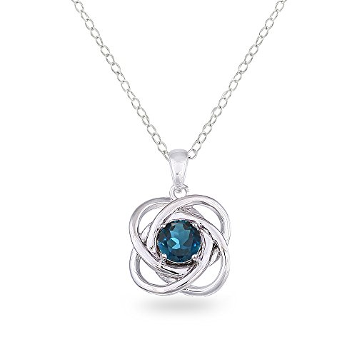 Sterling Silver London Blue Topaz Polished Love Knot Pendant - Topaz Blue Pendant Bracelet