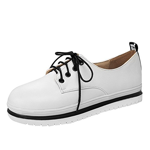 Show Shine Womens Thick Heel Platform Lace Up Oxfords Shoes White mOwynh5WjA