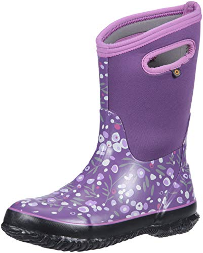 Bogs Classic High Waterproof Insulated Rubber Neoprene Rain Boot Snow, Cattail Print/Purple/Multi, 6 M US Big Kid