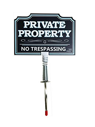 DISH NANNY Private Property Sign No Trespassing Yard Sign for House | Dynamic No Trespassing Signs Yard Privacy Sign for Home, No Soliciting Business | Two Sides | Made with Metal Stake (Deep Blue)