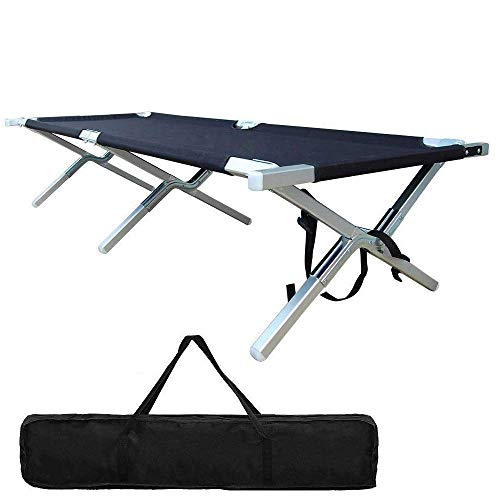 Foldable Camping Cot Portable – Lightweight Camping Bed Military Grade Aluminum for Adult Heavy Duty Outdof Tent Hunting Indoor with Carry Bag Easy Set Up – Test 450 lbs Capacity