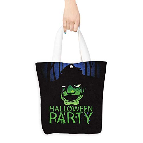 Canvas Tote Bag Halloween Party Design template with witch and place for text. Perfect for Shopping, Laptop W16.5 x H14 x D7 -
