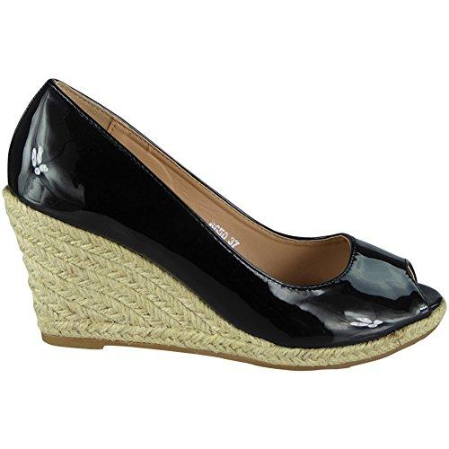 LoudLook Aux Femmes Peeptoe Wedges Plate-Forme Chaussures Brillant Espadrilles Sandales Compensées Taille 40 3NLYFN