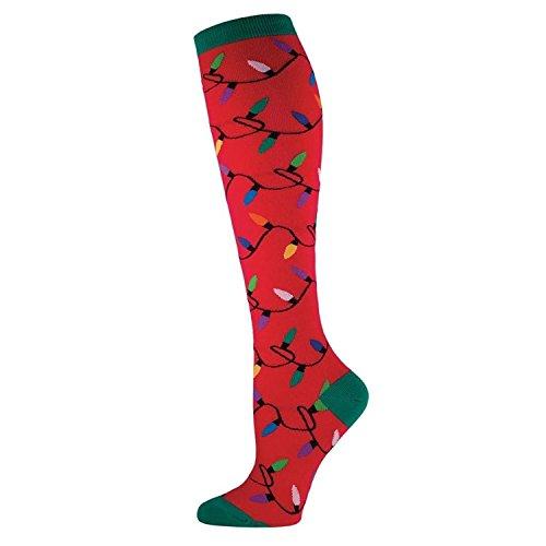 Sock Smith Womens Christmas Lights Knee High Socks-Red-Medium (Knee Socks Christmas)