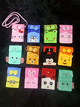 SLV Soft Velvet Sling Bag Carton Character Sling Pouch | Multi Color Universal Pouch (Pack of 12)