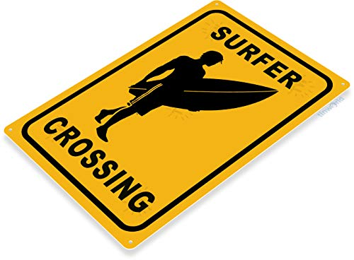 Tinworld TIN Sign C434 Surfer Crossing Surfing Surf Board Beach House Bar -