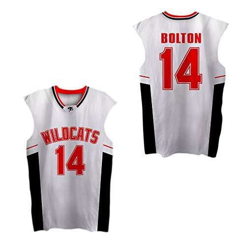 Boriz Zac E Troy Bolton 14 East High School Wildcats Patch Basketball Jersey Stich (30, White)