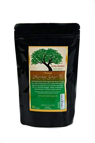 Global Moringa - Powerful Organic Moringa Tea with Ginger - (30 Tea Bags) Ghana Grown, American Seller