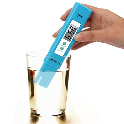 Digital PH Meter, Cakie Pocket Size 0.01 PH High Accuracy Tester with ATC for Household Drinking Water, Aquarium, Pool & Hydroponics, 0-14 pH Measuring Range with 3x pH Buffer Powders (Blue)