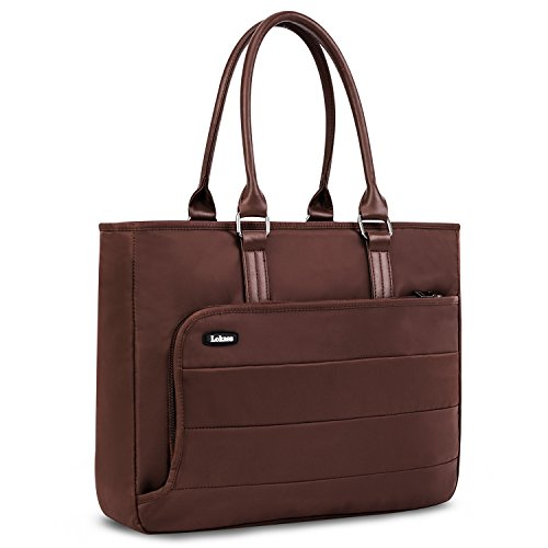 ag Briefcase Shoulder Bag Classic Casual Office Handbag Water-Resistant Lightweight Nylon 15.6 inches LaptopCase forWoman,Computer,Business,Work,Travel(Brown) ()