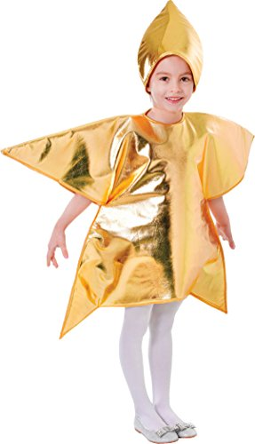 Childrens Gold Star Christmas Halloween Costume Fancy Dress