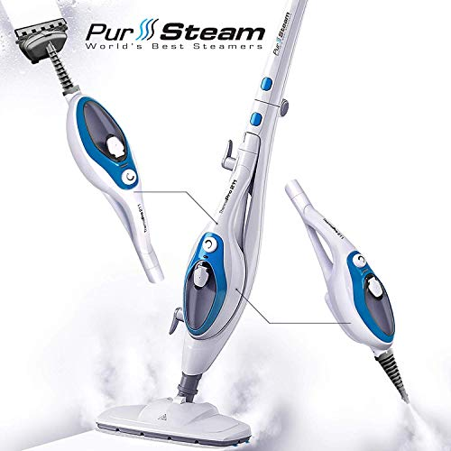 Steam Mop Cleaner ThermaPro 10-in-1 with Convenient Detachable Handheld Unit, Laminate/Hardwood/Tiles/Carpet Kitchen - Garment - Clothes - Pet Friendly Steamer Whole House Multipurpose Use by PurSteam (Best All In One Vacuum And Mop)
