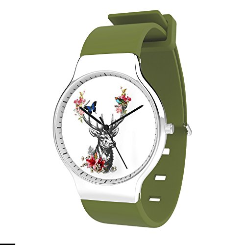 FELOOWSE Animal Watches Deer Watches Men's Quartz Watches, Minimalist Slim Japanese Quartz Youth Silicone Watches, Fashion PracticalWaterproof Boys Watch Customized Watches by FELOOWSE