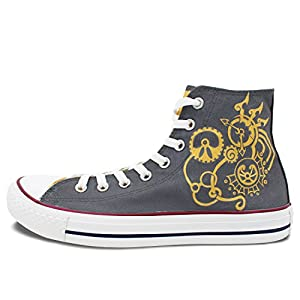 Wen Design Steampunk Hand Painted Shoes High Top Women and Men Canvas Sneakers