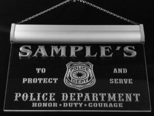 tk1078-b Wood's Police DEPT Department Badge Policemen Bar Beer Neon Light Sign by AdvPro Name (Image #2)