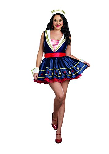 Dreamgirl Women's Plus-Size Shore Thing Sailor Costume, Blue, 1X/2X