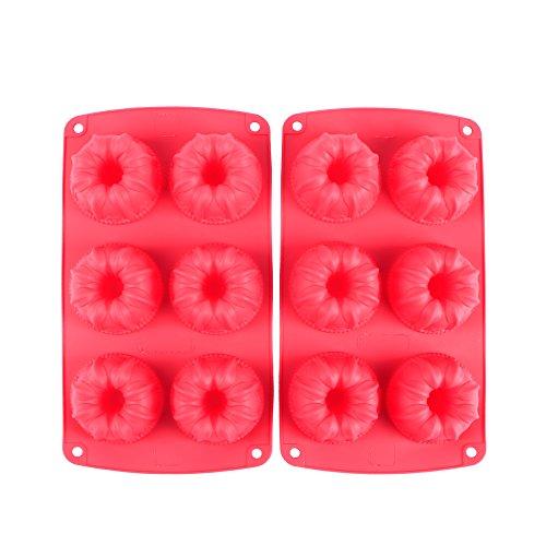 Webake 6-Cavity Silicone Fancy Bundt Cake Muffin Cupcake Mold,Set of 2 -