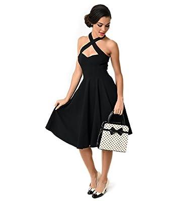 1bf94a2137f Unique Vintage 1950s Style Black Criss Cross Halter Flare Rita Dress
