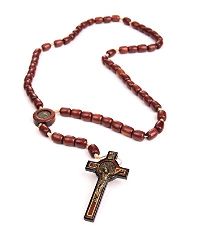 IntercessionTM St Benedict Mens Rosary - Made in Brazil (Cherry)