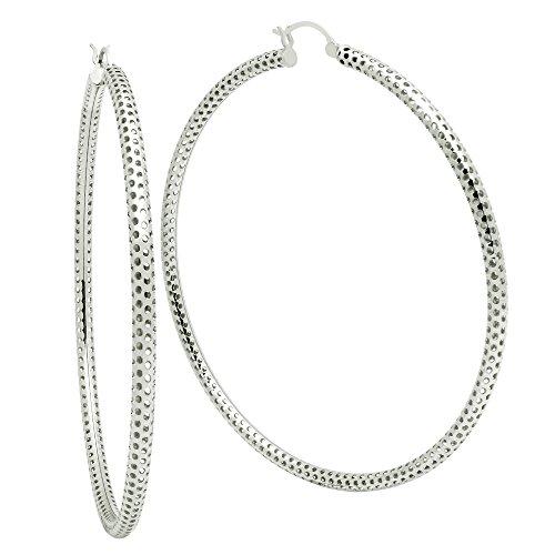 925 Sterling Silver Mesh Tube Hoop Earrings ()