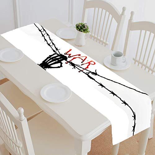 Custom Bleeding Letter Skull Skeleton Hand Table Runner Home Decor for Kitchen Dining Room Wedding Party Size 16x72 Inch -