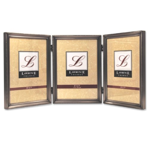 lawrence-frames-antique-pewter-5x7-hinged-triple-picture-frame-bead-border-design