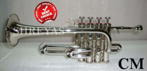 Shreyas Top Grade Silver Nickel Piccolo Trumpet Bb Pitch Along With Mouthpiece by SHREYAS