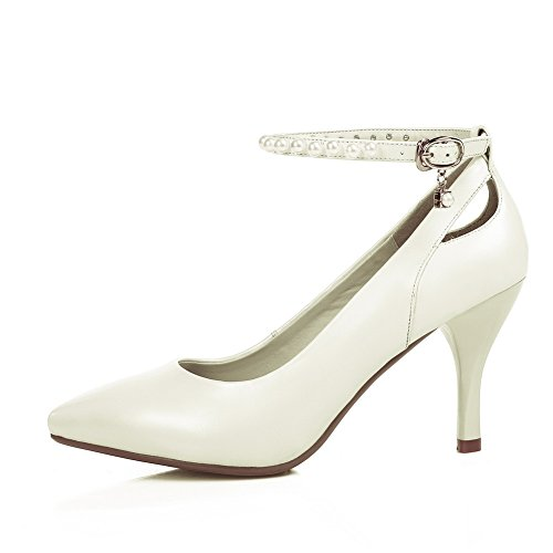 Tacco Pattini Bianco Pleather Solido Penny Alto chiusura Donne Mms05522 Non mocassino 1to9 Pompe Bordato qfn1tP