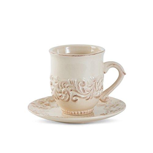 Gracious Goods Four - 16oz. Acanthus Cup & Saucer, Set of 4