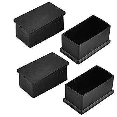 Antrader Rectangle Shaped Furniture Rubber Felt Pads Table Chair Leg Foot End Caps Covers Protectors Black,Pack of 12