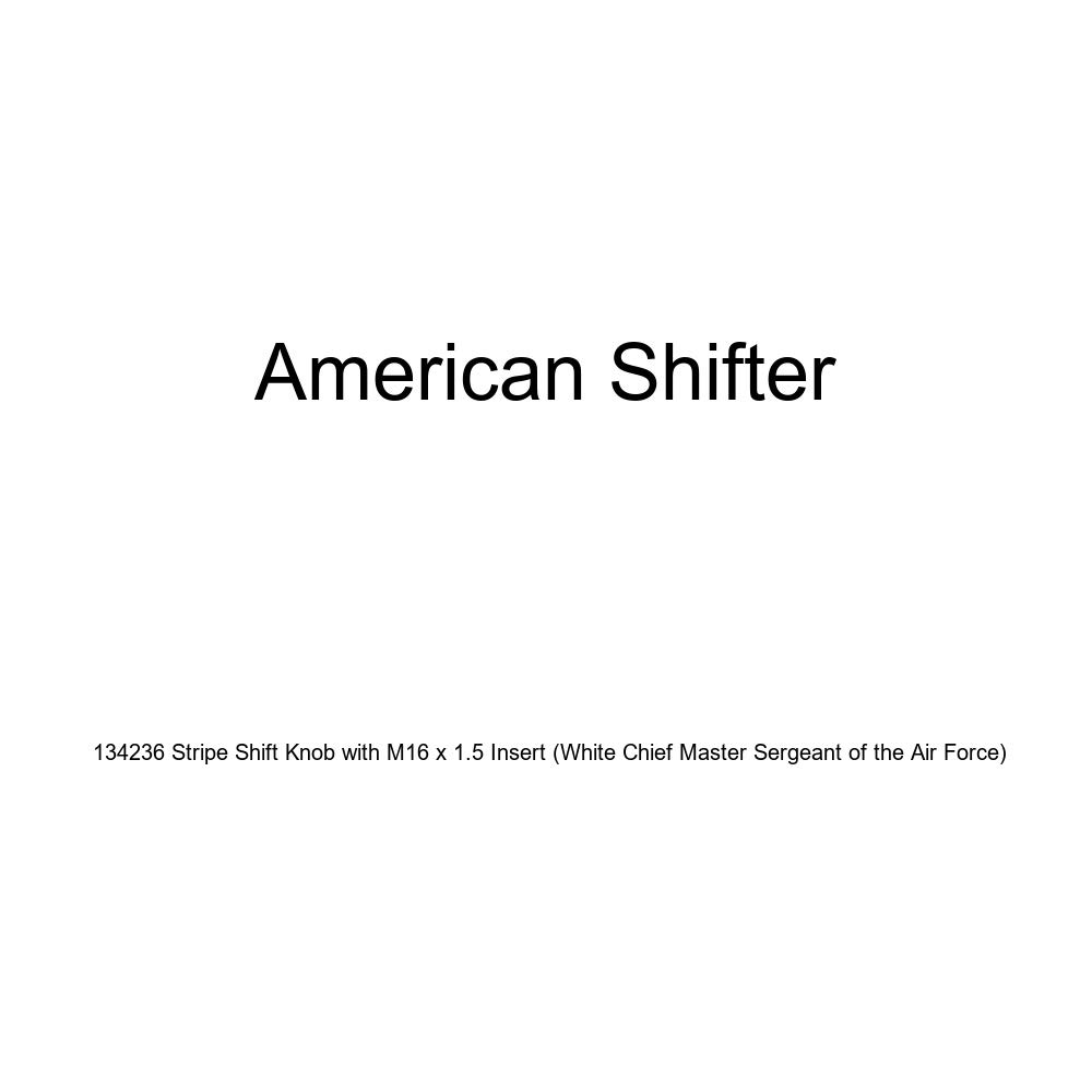 American Shifter 134236 Stripe Shift Knob with M16 x 1.5 Insert White Chief Master Sergeant of The Air Force