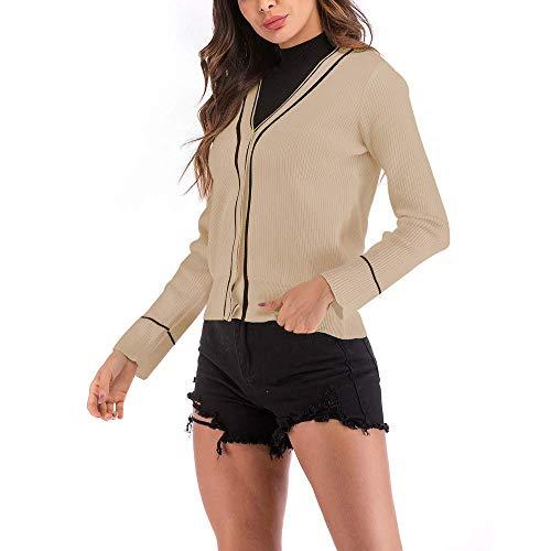 Couture Longues Xl Bouton Manches Veste Taille Manteau Parka À Casual Beige Zhrui Cardigan Couleur Survêtement Rayé Femme 7qwaP