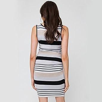 Yuntown Maternity Breastfeeding Dress Nursing Striped Sleeveless Slim Layer Tank
