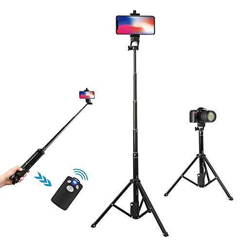 Wevon Selfie Stick Tripod, 54 inch Extendable Phone Tripod with Wireless Remote Compatible with iPhone Xs Max Xr X 8 7 Plus, Android, Samsung Galaxy, Camera Tripod Compatible with Nikon -