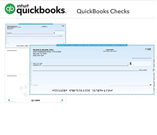 QuickBooks Checks 250 Standard Computer Voucher Business Checks for Laser Printer (Check-on-Top) Official Intuit QuickBooks Checks