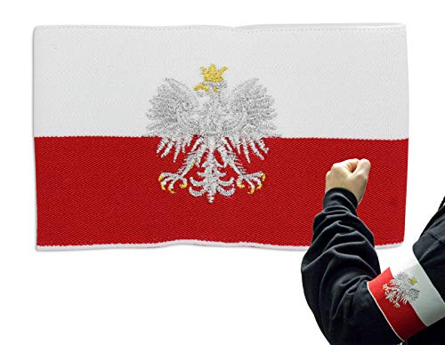 Armband - Elastic Armband in The National Colors of Poland, red & White just Like The county's Flag. in The Center of The Band is The Polish Eagle Embroidered in Silver and Gold Thread.