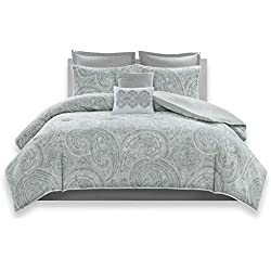 Comfort Spaces - Kashmir Comforter Set - 8 Piece - Paisley Pattern - Blue, Grey, Green - King - 1 Comforter, 2 Shams, 1 Bedskirt, 2 Euro Shams, 2 Décorative Pillows