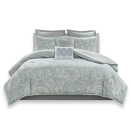Comfort Spaces - Kashmir Comforter Set - 8 Piece - Paisley Pattern - Blue, Grey, Green - King - 1 Comforter, 2 Shams, 1 Bedskirt, 2 Euro Shams, 2 Décorative Pillows