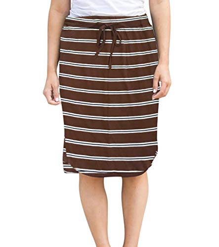Womens Skirts Knee-Length Pencil-Skirts Solid Midi-Skirts for Ladies Stretchy Drawstring Daily Skirts (XL (US 12-14), Brown Stripe)