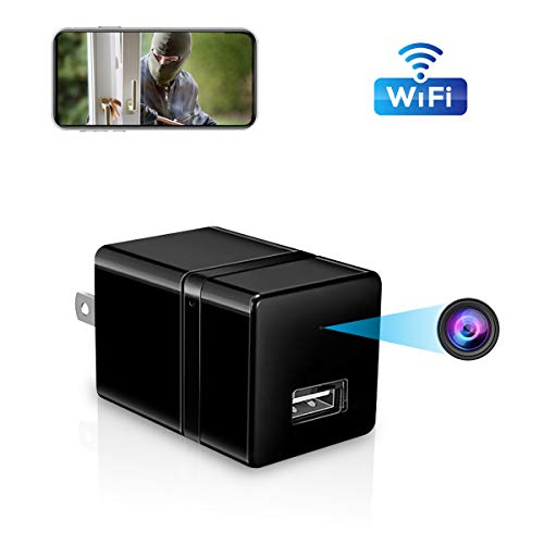 Mini Spy Camera Wireless Hidden USB Wall Charger Camera Home Security Hidden Camera WiFi 1080P HD Surveillance Camera Motion Detection Nanny Cam with Cell Phone App (Wireless Cam Hd)